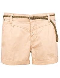 Sublevel Damen Chino Shorts mit schmalem Flechtgürtel   Kurze Hose aus  Twill-Material c9d1aff76b