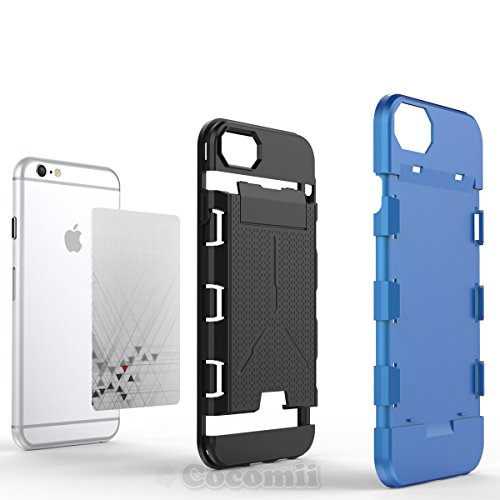 iPhone 8 / 7 / 6S / 6 Coque, Cocomii Viking Armor NEW [Heavy Duty] Premium Built-in Multi Card Holder Shockproof Hard Bumper Shell [Military Defender] Full Body Dual Layer Rugged Cover Case Étui Houss Silver