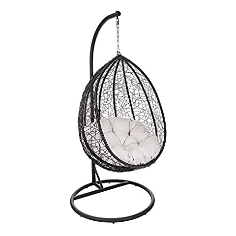 Porto Steel & Rattan Hanging Egg Chair with Stand & Cushion