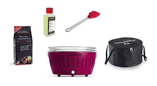 LotusGrill XL Kit débutant 1x violet prune 1x charbon de bois du livre 1kg, 1x Pâte brûlante 200 ml, 1x Marinierpinsel flamme rouge, 1x sac transport - Le fumée PAUVRE / table en diverses