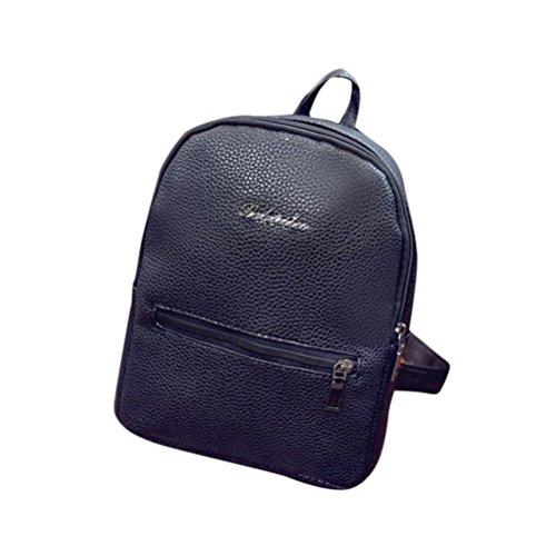BZLine® Frauen Leder Tasche Travel Rucksack Ranzen Frauen Schulter Rucksack Schwarz
