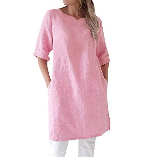 BHYDRY Frauen-Sommer-beiläufiges festes halbes Hülsen-Taschen-Hemd-Kleid Loses Kleid (Small,Rosa)