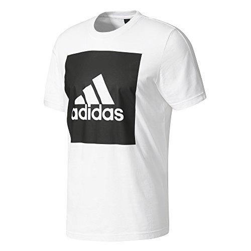 adidas Herren Essentials Box Logo T-Shirt, White, M