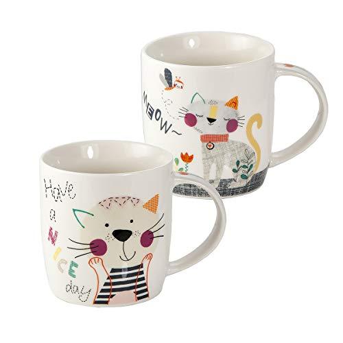 Juego de 2 Tazas Desayuno Originales de Porcelana Fina, Tazas de Café con Diseño de Gato Meow, Regalos para Mujer y Amantes de los Animales