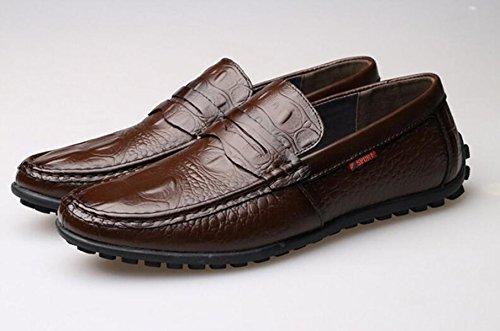 GRRONG Chaussures En Cuir Pour Homme En Cuir Véritable Loisirs Noir Brun brown
