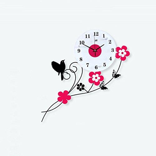 horloge murale Pastoral Birdie Fer à repasser Grande Personnalité Décoration Moderne Créatif Horloge à quartz Chambre Mute Table suspendue