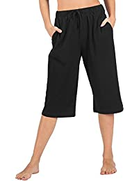 WEWINK CUKOO 100% Cotton Women Casual Capri Pants Lounge Pants Pockets