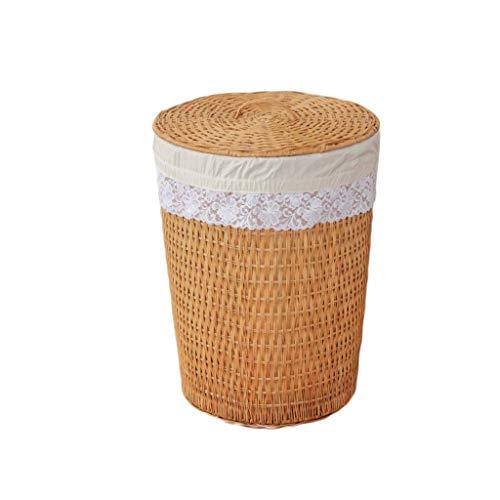 ZHAOSHUNLI Panier à linge Grand panier rond en rotin avec panier de rangement pour la lessive (Couleur : Le jaune)