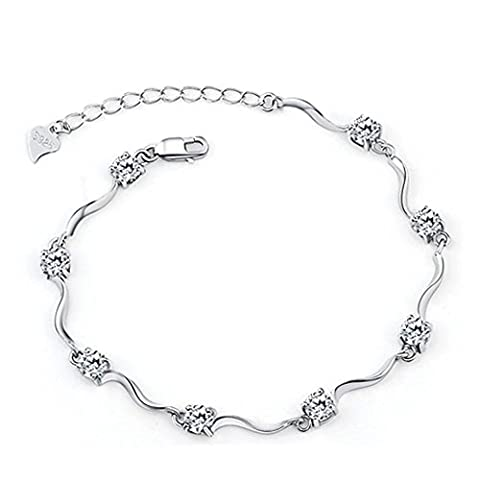 Ladies Swarovski Element Silver Crystal S925 Sterling Silver Bracelets with Shiny White Cubic Zirconia for Women Girls