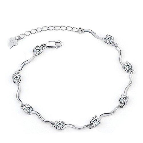 Tusuzik Señorías Swarovski Element Plata Cristal S925 Plata esterlina Pulseras con circonita Blanco Brillante,Regalos Dia de San Valentin