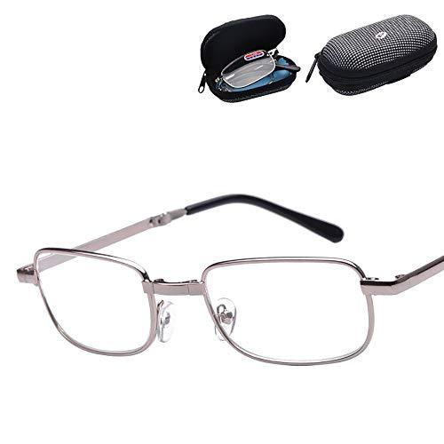 Presbyopische Brille Bequemes Falten Metallrahmen Taille Reißverschlusstasche Lesebrille Lesebrille