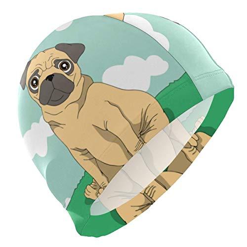 Gebrb Badekappe/Schwimmkappe/Bademütze, Swim Cap Sweet Pug Dog Funny Swimming Cap for Men Boys Adult Teen Swimming Hat No-Slip
