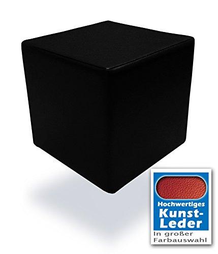 Unbekannt Spielpolster Schaumstoff Würfel in Schwarz mit hochwertigem Kunstlederbezug und Qualitätsschaumstoff 40 x 40 x 40 cm. Kinder Spielspaß, Sitzhocker, Sitzwürfel, Schaumstoffwürfel. (Schwarz)