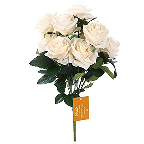 SOLEDI 10 Head French Rose Silk Flower Arrangement Artificial Fake Bouquet Wedding Living Room Table Home Garden Decor (Creamy)