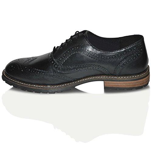 Red Tape Barrow Cuir Brun Homme Chaussures Brogues Noir - noir