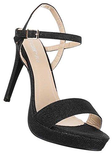 Damen Schuhe Sandaletten Stilettos High Heels Plateau Abendschuhe Pumps Schwarz esjskYSq