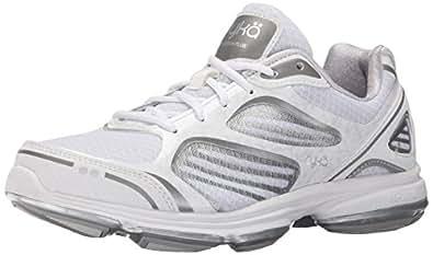 Ryka Women's Devotion Plus Walking Shoe, White/Chrome Silver/Frosted Almond, 6. 5 M US