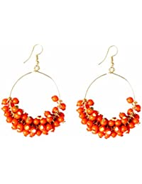 Rapidcostore Orange Jhumki Earring, Chandbali Earring, Tunnel Earring, Tassel Earring, Drop Earring, Hoop Earring...