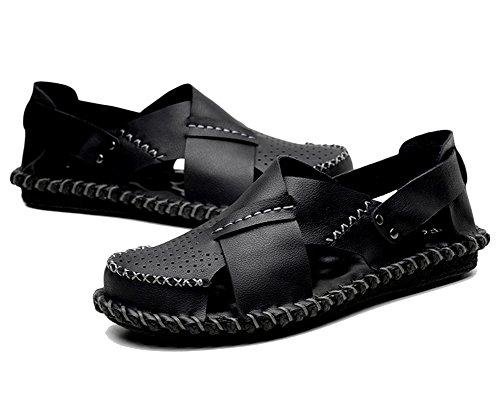 Dianshaoa sandali da uomo sandali morbidi casual sandali esterni traspiranti a punta chiusa fisherman antiscivolo arrampicata sandalo nero 40