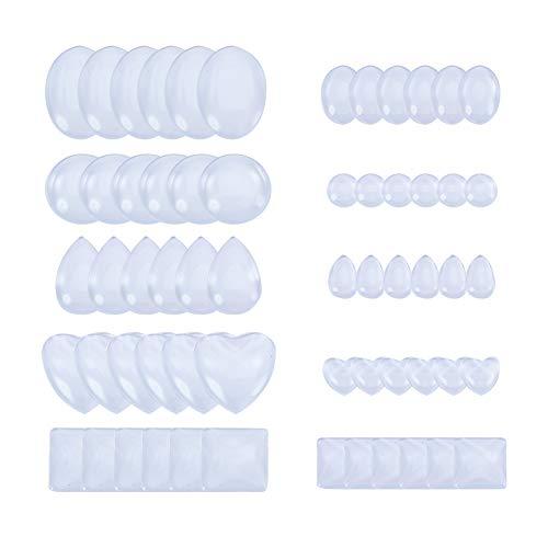 PandaHall Elite 60 Stück 5 Arten flach zurück Glas Cabochons für Foto Handwerk Schmuckherstellung, Flache Runde/Drop / Oval/Square / Herzform, transparent