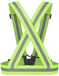 Chaleco de seguridad reflectante - SODIAL(R) Chaleco de seguridad reflectante Cinturon cruzado de visibilidad de Correa reflectante Banda arnes faja cinturon de chaleco de correr, verde