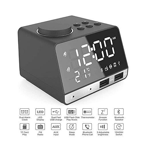 YSZDM Digitaler Wecker, Dual Wecker FM Radio Bluetooth Musik Lautsprecher Wecker LED Spiegel Display 4 Dimmer Thermometer Kalender,Black - Dual-radio-website