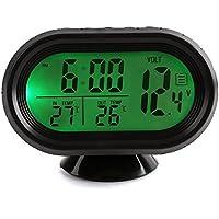 Termometro del coche - SODIAL(R) Multi-funcion digital de alta calidad de tension 12V del coche de alarma del reloj del termometro de la temperatura del monitor LCD detector medidor de bateria