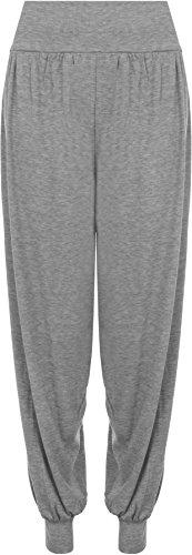 WearAll - Damen Übergröße Harem hose lange Länge elastisch - Grau - 44-46 (Plus Größe Hosen-jeans)