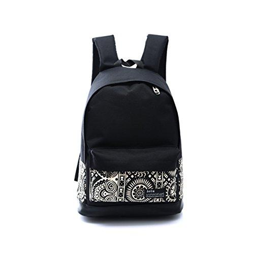 XY Fancy Damen Herren Schüler süße mode Canvas Rucksack Schulranze Reisetasche Daypack, Schwarz (Check Nylon-einkaufstasche)