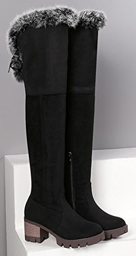 Aisun Femme Chaud Chaussures de Hiver Genou Cuissardes Bottes Noir