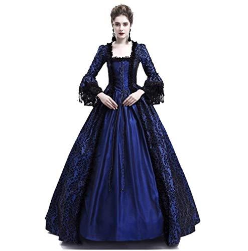CJY Damen Royal Retro Mittelalter Renaissance Kleid Lady Masquerade Prinzessinnenkleid Schnürung bodenlang Cosplay Kostüm S-3XL - Blau - (Masquerade Kostüm Plus Größe)