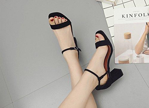Donna Tacco Largo Sandali Con Cinturino Alla Caviglia Nero