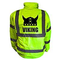 Viking Kids Hi Vis Yellow Bomber Jacket, Reflective High Visibility Safety Childs Coat, By Brook Hi Vis