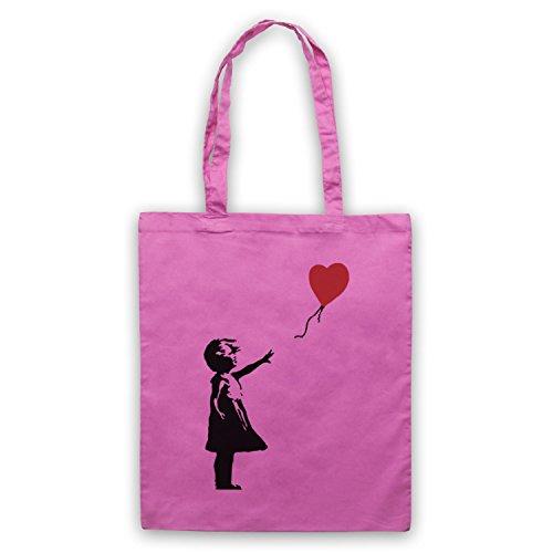 Ispirato Da Banky Girl Cuore Balloon Graffiti Street Art Non Ufficiale Cape Bags Rosa