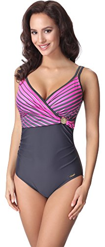 aQuarilla Damen Badeanzug AQ110(Graphite/Rosa, 48) (Badeanzug Weibliche Plus Size Kostüme)