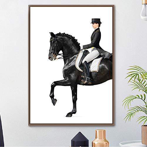 Frauen Reiten Dressur Stil Leinwanddruck Poster Retro Wohnkultur Malerei Wandkunstwerk Bild Wohnzimmer Modulare 40x60cm -