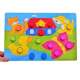 Isuper Puzzle di Legno Giocattolo educativo precoce Giocattolo di Corrispondenza di Colore per Ragazzi e Ragazze Giocattolo di Puzzle (1pc)