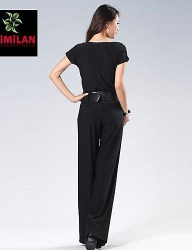 GSP-Combinaisons Aux femmes Manches Courtes Décontracté Polyester Fin Elastique gray-m