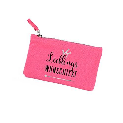 Herz & Heim pinke Kosmetiktasche - Lieblings... - mit Ihrem Wunschtext für die Beste Freundin, Lieblingsmama oder Schwester