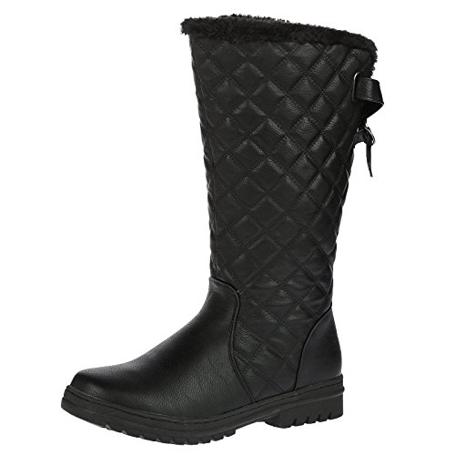 S2A New Womens Ladies Quilted Faux Fur Lined Thick Sole Mid Calf...
