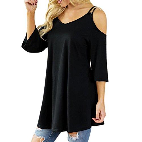 TITIU Art- und Weisefrauen-beiläufige Feste Offene Schulter-T-Shirt Oansatz trägerlose Lose Bluse (L, Schwarz)