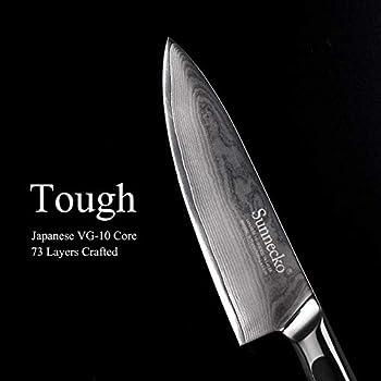 Sunnecko Chef Knife-6.5'' Kitchen Knife-Japanese Damascus VG10-Ergonomic G10 Handle-All Purpose-Elite Series