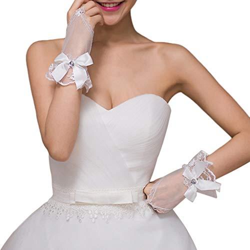 Kimruida Hochzeit Fingerlose Braut Kurze Handschuhe Weiche Spitze Floral Herz Strass Bowknot