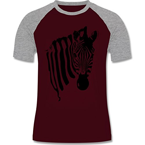 Shirtracer Wildnis - Zebra - Herren Baseball Shirt Burgundrot/Grau meliert