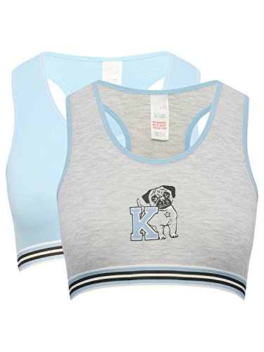 M&Co Teen Girl Light Blue Grey Marl Pug Print Elasticated Trim Racer Back Crop Tops Two Pack Test