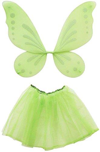 Widmann 8224T - Kostümset Waldfee mit Flügel und Rock (Tinkerbell Kostüm Halloween)