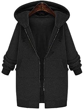 SaiDeng Mujer Manga Larga Espesar Con Capucha Cárdigan Abrigo Negro XL