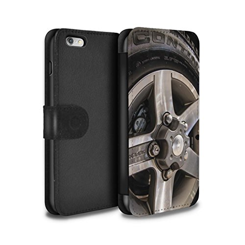 Stuff4 Coque/Etui/Housse Cuir PU Case/Cover pour Apple iPhone 5/5S / Noir/Orange Design / Jantes Alliage Collection Gris/Argent