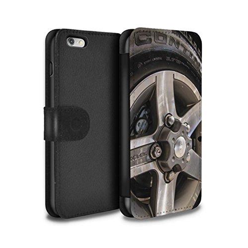 Stuff4 Coque/Etui/Housse Cuir PU Case/Cover pour Apple iPhone 5/5S / Noir/Orange Design / Jantes Alliage Collection Gris/Argent