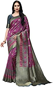COTTON SHOPY Women's Kanchipuram Art Silk Saree With Blouse Piece (Cott-912_Pur